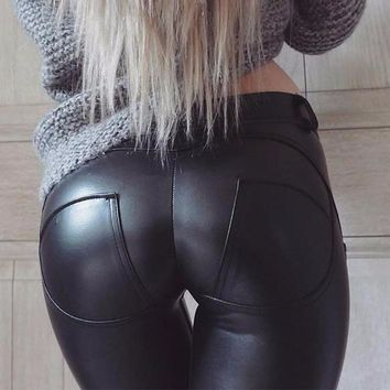 Black Fitted Pleather Jeggings