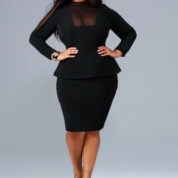 """Faith"" Mesh Front Peplum Dress - Black - Cocktail Dresses - Clothing - Monif C"