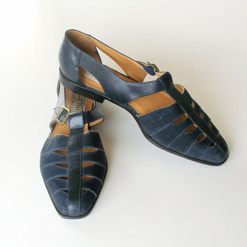 Vintage Esprit Navy Blue Suede Leather Flats Sandals 1990 Size 7.5