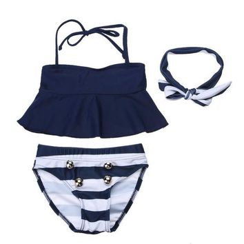DCCK7N3 3pcs Children Kids Swimsuit Tops Striped Briefs Swimwear Summer Beach Suit Baby Girls Kids Bathing Suit with Headwear Headband