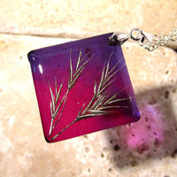 Grass seeds square resin necklace, nature jewelry, leaf jewellery, purple, silver plated chain