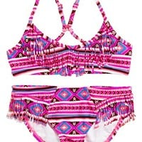 Billabong 'Heat Wave' Fringe Two-Piece Swimsuit (Little Girls) | Nordstrom