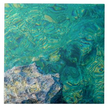 Turquoise ocean water ceramic tile