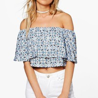 Printed Polly Off The Shoulder Top   Boohoo