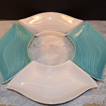 California Pottery Robin's Egg Blue & Cream Lazy Susan Dishes L34 Set of 4 Vintage Chip n Dip Pottery Pieces 4 Modern Condiment Snack Trays