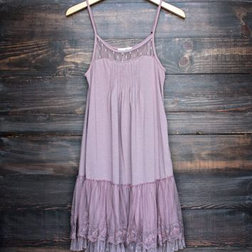 whimsical fairytale lace dress slip - mauve