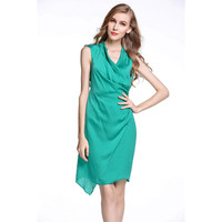 Sheer Wrap Around Back Cut-Out Sleeveless Sheath Dress