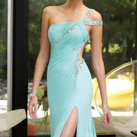 One Shoulder Jersey Dress by Alyce Prom