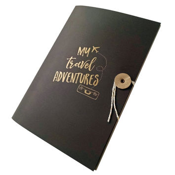 My Travel Adventures Journal Notebook Letterpress with Bakers Twine