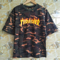 Thrasher Fashion Casual Camouflage Short Sleeve Round Neck Print Tee Top