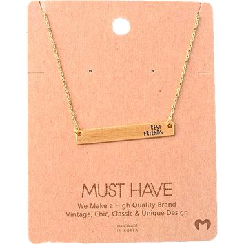 Must Have-Best Friends Bar Necklace, Gold