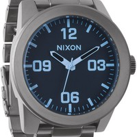 Nixon Corporal SS Gunmetal & Blue Crystal Analog Watch