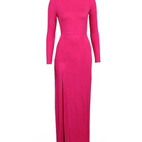 Long Sleeve Side Slit Sheath Maxi Bodycon Pencil Dress