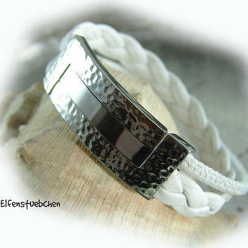 Leather bracelet women white silver - hammered stainless steel - fold over clasp - nappa leather - summer - for her  - foldover