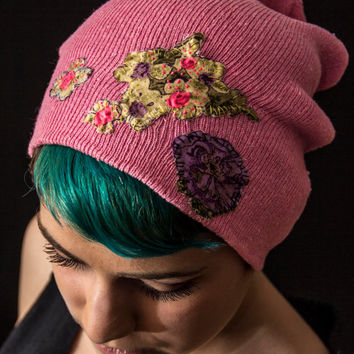 Pink Slouchy Beanie with Hand Sewn and Painted Flower Patches - Custom Winter Hat - One of a kind