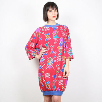 Vintage Southwestern Print Mini Dress Slouch Top Sweatshirt Pullover Slouch New Wave Raspberry Fuchsia Pink 1980s 80s T Shirt Dress M L XL