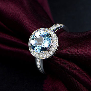 2.11ctw Round Cut Aquamarine Engagement ring,VS Diamond wedding band,14K Gold,Blue Gemstone Promise Bridal Ring,Women ring,Halo Pave Set