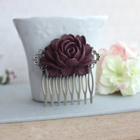 Large Dusty Plum Maroon Dark Brown Rose Flower Antiqued Brass Hair Comb. Bridesmaid Gift. Wedding Hair Comb. Plum Wedding Bridal Hair Comb.
