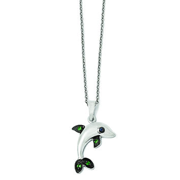 Cheryl M Sterling Silver CZ Dolphin 18in Necklace QCM576