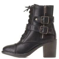 Bamboo Belted Chunky Heel Combat Boots by Charlotte Russe - Black