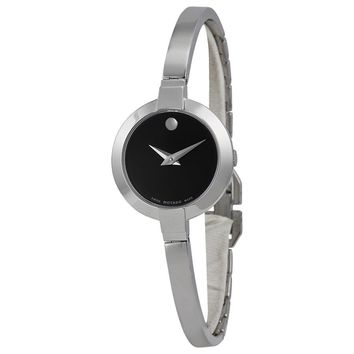 Movado Bela Black Dial Stainless Steel Bangle Ladies Watch 0606595