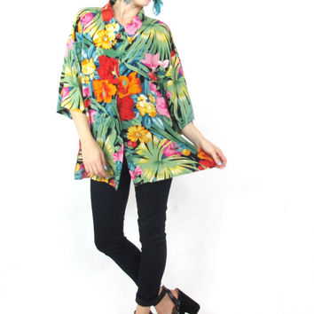 80s Tropical Floral Blouse Slouchy Hawaiian Shirt Short Sleeve Button Down Collared Unisex Mens Palm Tree Vacation Plus Size Top (L/XL)