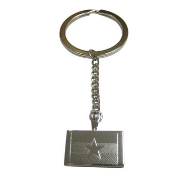 Silver Toned Etched Myanmar Burma Flag Pendant Keychain