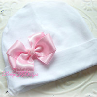 Winter Baby Beanie Newborn Hospital Hat | Girls Knit Hat | White Pink Cotton Knit Beanie Small Satin Bow More Colors TWO SIZES #hospitalhat