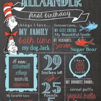 Dr. Suess Birthday Chalkboard Sign / Printable / Cat in the Hat 1st Birthday Chalkboard Poster *Includes Free file for sharing on Facebook*
