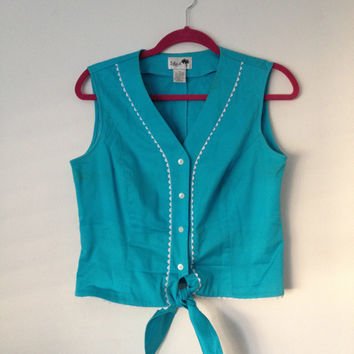 Pin Up Rockabilly Tied Crop Vintage Top in Aqua