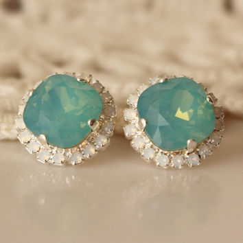 Seafoam... Swarovski Crystal... Cushion Cut Diamond... White Opal Halo Square Rhinestone Stud Earrings... Pacific Opal Earrings