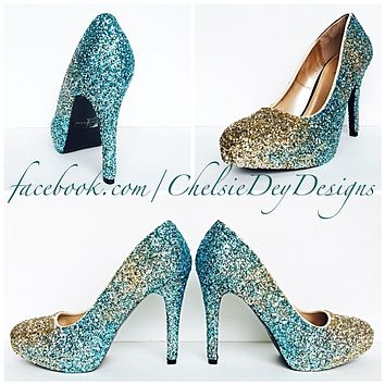 Glitter Wedding High Heels, Turquoise Aqua Gold Ombre Platform Pumps