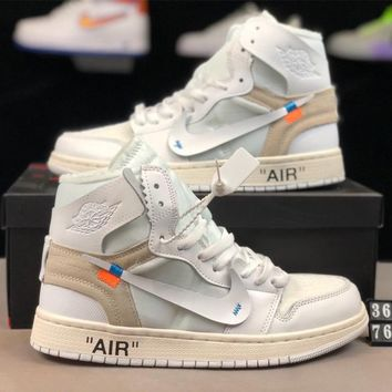 AIR JORDAN 1 x OFF-WHITE Joint high-top men's and women's sports shoes white