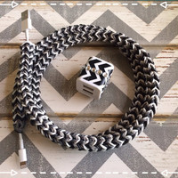 New Super Cute Chevron Designed Loom Banded 4ft Certified Cable Cord + Black & white Chevron Designed Dual Connector Tangle Free