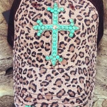 Designer Leopard Trucker Hat with Turquoise Cross