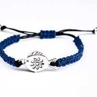 Fish Hemp Bracelet Royal Blue and Black