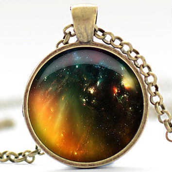 Galaxy Necklace, Nebula Art Pendant, Stars Jewelry, Outer Space Necklace Gift for Him or for Her (407)