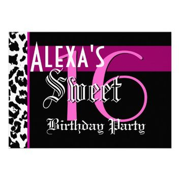 Sweet 16 Birthday Black White Leopard Pink Custom Invitation - Customize Online