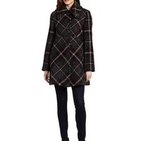 Larry Levine Women's Plaid Swing Coat, Grey/Eggplant Plaid, 10