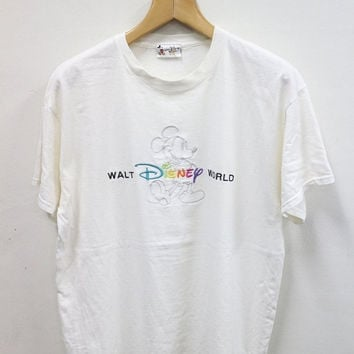 ON SALES 15% Vintage 90s WALT Disney Mickey Mouse Punk Fashion Cartoon White T Shirt