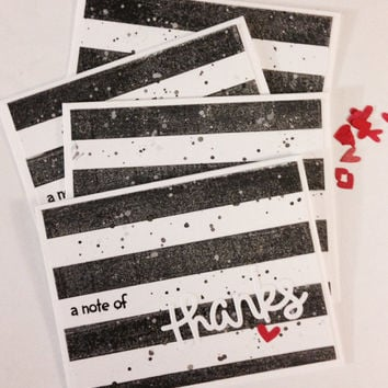 Thank You Card in Black and White/ Thick black stripes and little red heart/  / Handmade - blank inside