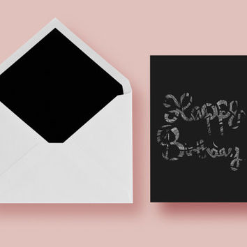 Happy Birthday Greeting Card with Black and White Intricate, Hand-Drawn Design Cutout