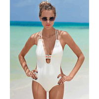 2017 Women One Piece Swimsuit Bathing Suit Bandage Hollow Out Swimwear [10149609295]