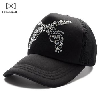 2016 Sale Limited Cool Summer Rhinestone Women Baseball Cap Guns Pattern Truck Breathable Mesh Casual Hat Adjustable Snapback