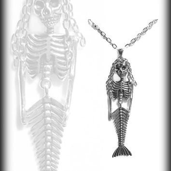 Mermaid Skeleton Necklace, Gothic, Articulated Mermaid, Skeleton Jewelry, Handmade Jewelry, Gothic Gift, Mermaid Pendant
