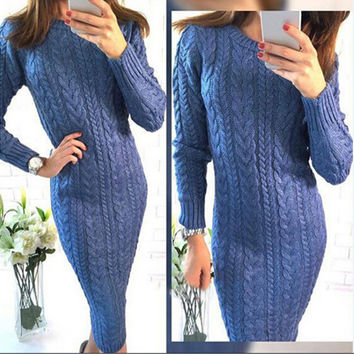 Round-neck Long Sleeve Sweater One Piece Dress [9456552964]