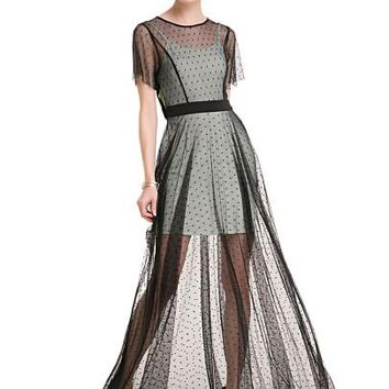 Mesh Patchwork See-Through Women's Maxi Dress