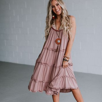 Sweetie Wood Trimmed Ruffled Midi Dress - Mauve