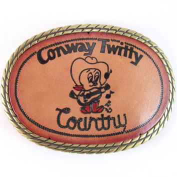"Conway Twitty Belt Buckle, Vintage ""Twitty Bird"" Leather Belt Buckle, Country Western Music Collectible, Cowboy Belt Buckle, Cowgirl Buckle"