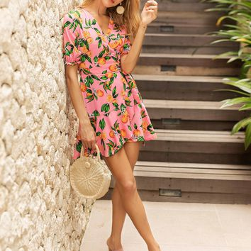 Fruits Print Ruffle Hem Knot Wrap Dress
